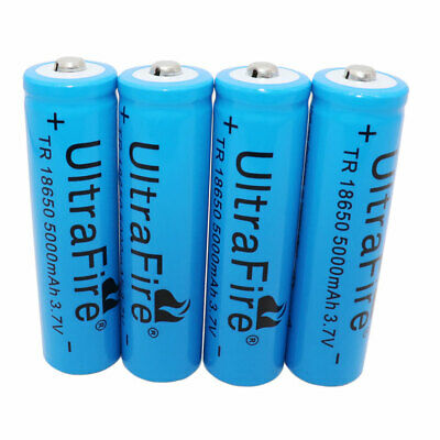 4X 18650 5000mAh 3.7V Li-ion Rechargeable Battery For Flashlight Headlamp Torch