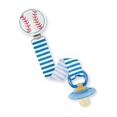 New!! Mud Pie Baby Baseball Pacifier Holder Clip
