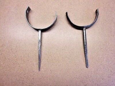 2 HAND FORGED EARLY IRON WALL HOOKS/GUTTER SUPPORTS Neat Display Pieces Vintage