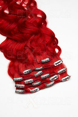 #red rot Clip in GEWELLT Hair Extensions 100% Remy Echthaar 7 teiliges Set TOP
