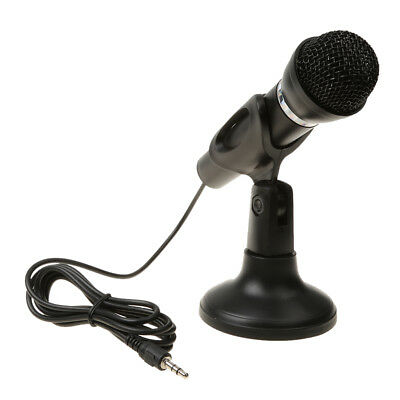 3.5mm Jack Stereo Plug Microphone Mic+Stand for PC Laptop Notebook MSN Skype