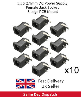 10 PCS DC Power Supply Jack Socket Female PCB Mount Connector 5.5mm x 2.1mm UK