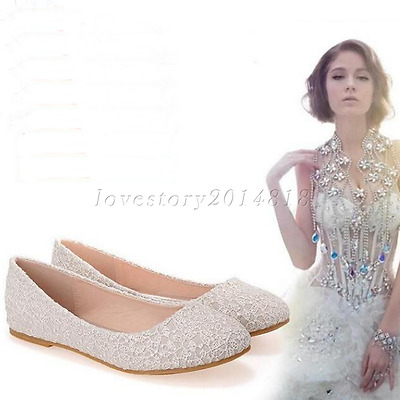 Wedding shoes Real silk satin Lace white ivory red Bridal flat ballet size 5-11