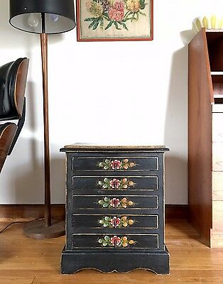 Vintage ANTIQUE Early 1900's HAND PAINTED folk Art Chest OF drawers TABLE Dutch