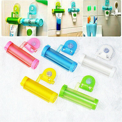 Cute Plastic Rolling Tube Squeezer Toothpaste Easy Dispenser Bathroom Holder TY