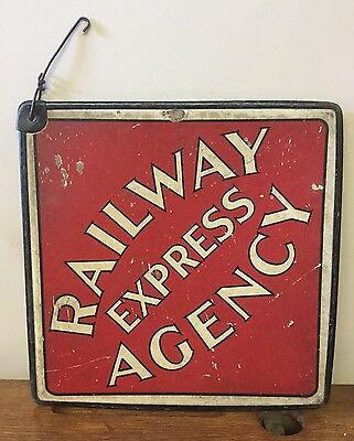 Vintage Railway Express Agency Double Sided Railroad Call Card Cardboard Sign