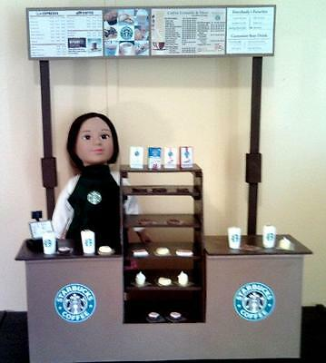 """Deluxe Starbucks Doll Playset for 18"""" or American Girl Sized Dolls"""