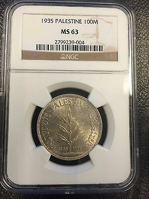 1935 100 Mils NGC MS63 Silver Coin Palestine - Israel - RARE!!!