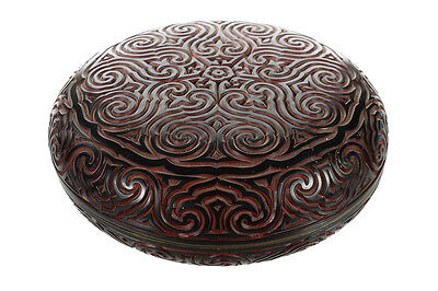 Antique Chinese Circular Box -Beautiful Carved Cinnabar Lacquer -