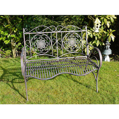 Fabulous Metal Garden Bench Antique Industrial Distressed Shabby Chic