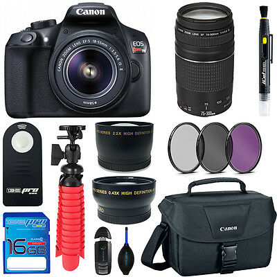 Canon T6 DSLR Camera With 18-55mm Lens + 75-300mm Lens + Expo Bundle