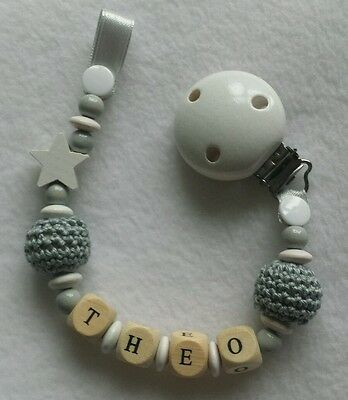 Personalised  baby wooden dummy clip pacifier chain holder shower gift