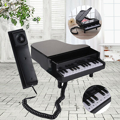 Lovely Piano Shape Corded Telephone Home Office Phone Black New Fashion