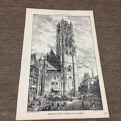 1882 original Architects print - Church of ST LAURENT - The builder