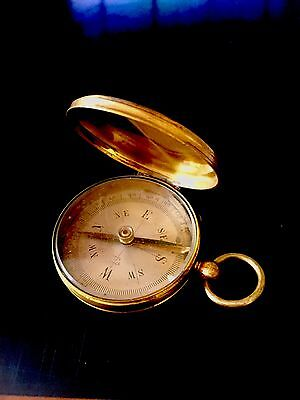 FABULOUS FRENCH ANTIQUE Surveyors COMPASS- Gold Rock Chrystal