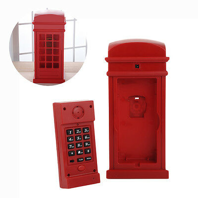 Lovely Red Booth Cabinet Shape Corded Telephone Home Office Phone New Fashion