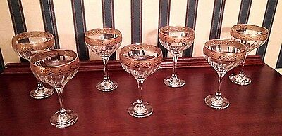 Vintage Seven Crystal Gold Etched Trim Wine / Champagne Glasses Stemware