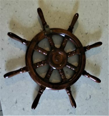 ornate solid TIMBER wooden teak ships ship wheel for display of clock barometer