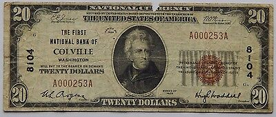 1929 $20 The First National Bank of Colville, WA Fr.1802-1 Chapter# 8104