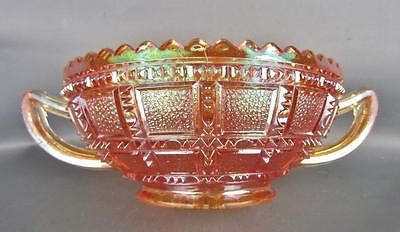 CARNIVAL GLASS - IMPERIAL FROSTED BLOCK Marigold Open Sugar
