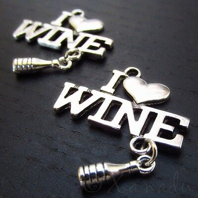 I Love Wine Wholesale Antiqued Silver Plated Charm Pendant C6147 - 2, 5 Or 10PCs
