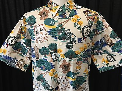 a1962998 Reyn Spooner Mens Exclusive Oakland A's Athletics MLB Hawaiian Shirt Large  VTG