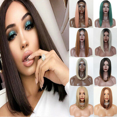 Lace Front Wig Natural Hair Ombre Two Tone Short Bob Synthetic Wig Fashion Women