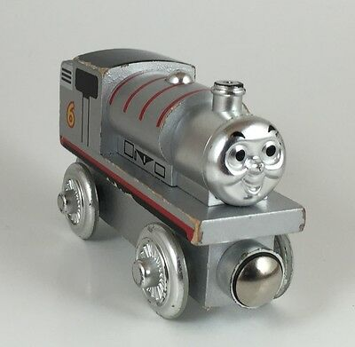 THOMAS AND FRIENDS WOOD TRAIN RARE LIMITED '60 Year' Edition PERCY, Silver