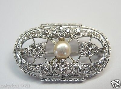 Art Deco Vintage Antique Pearl Diamond Brooch Pin Platinum EGL USA Fine Jewelry