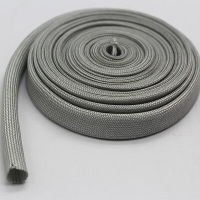 Vulcan Gray Heat Protector Woven Sleeve Spark Plug Wire 10mm ID X 25ft new