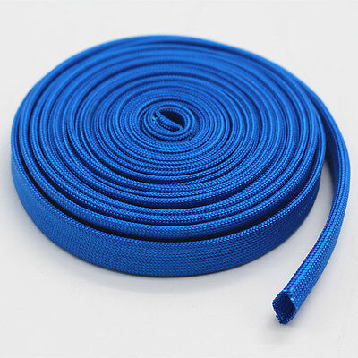 Vulcan Blue Heat Protector Woven Sleeve Spark Plug Wire 10mm ID X 25ft new