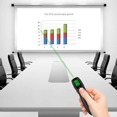 Rechargeable Presenter Wireless PPT Clicker Green Laser Mouse Remote Control