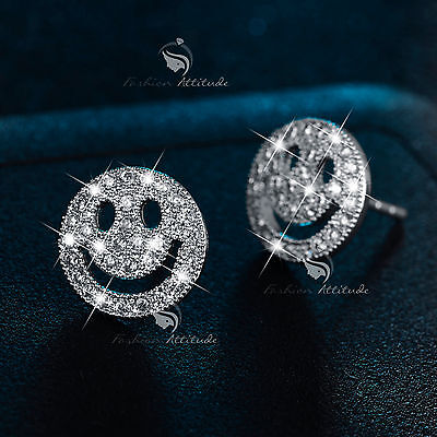 18k white gold filled made with SWAROVSKI crystal happy smile face stud earrings