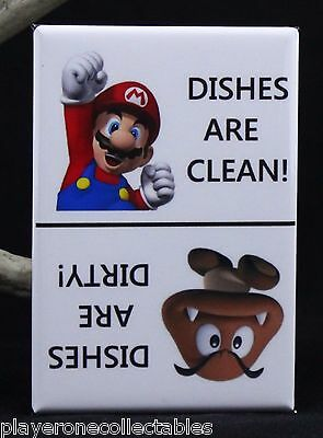 """CLEAN / DIRTY Super Mario & Goomba Sign 2"""" X 3"""" Dishwasher Magnet."""