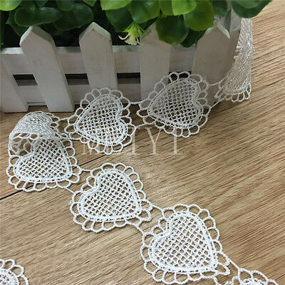 Vintage Heart Embroidered Lace Edge Trim Ribbon Crochet Applique Sewing Crafts