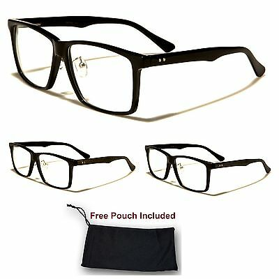 Unisex Men Women Nerd Wayfarer Black Plastic Retro Scholar Clear Lens Glasses
