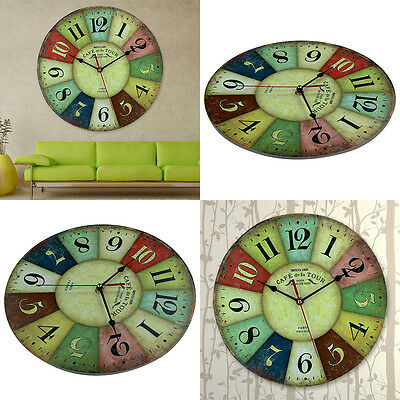 Large  Retro Multicoloured Vintage Style Giant Wall Clock Chic HK