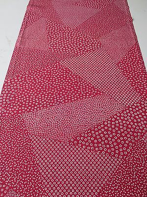 Vintage Kimono Quilt Fabric Silk Red Small FLower Classic Style 104cm #424