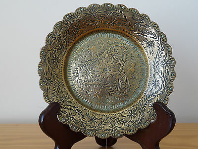 c.18th - Antique Vintage India Indian Solid Brass Hand Engraved Tray Plate