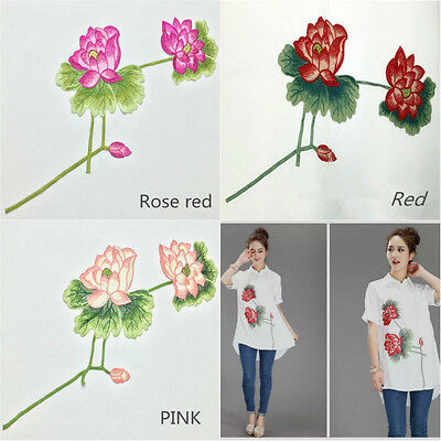 Embroidered Lotus Floral Neckline Neck Collar Trim Clothes Sewing Applique Patch