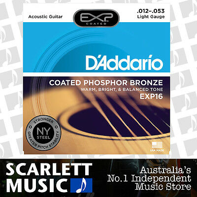 D'Addario EXP16 12-53 Coated Light Acoustic Guitar Strings Daddario EXP-16