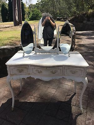 Antique French White Dressing Table With Stool