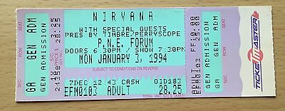 1994 Nirvana Vancouver Concert Ticket Stub Kurt Cobain Dave Grohl In Utero Tour