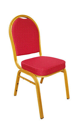 Stacking Metal Banqueting Chairs. Red Gold Round Back. Steel. Catering. Church