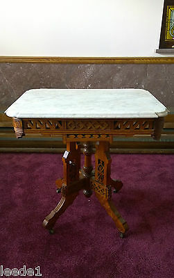 Ornate Victorian Oak Parlor Table White Italian Marble Top Unusual