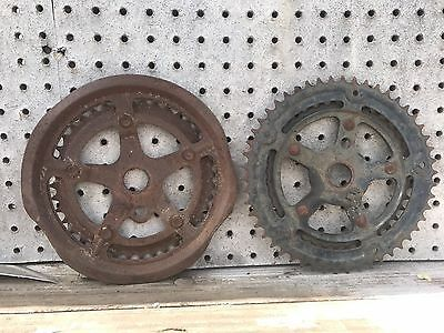 Lot Of 2 Double Gears Vintage Industrial Machine Age Steampunk Decor Art