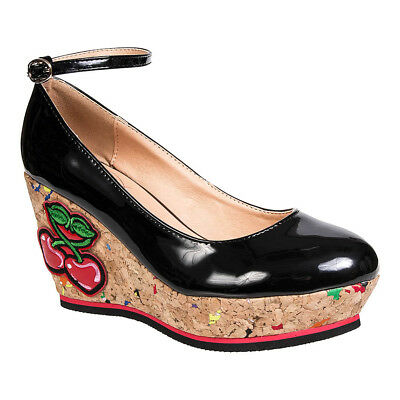 Ladies Banned Mustang Sally Black Patent Rockabilly Cork Wedge Heeled Shoes