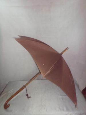 *Vintage Umbrella - Leather Clad Handle - Brown Canopy - Gold Plate collar - H&S