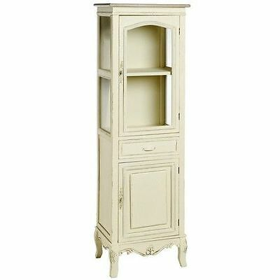 Tallboy Cupboard Drawers Three Shelves And A Drawer Furniture Glass Wood Cream