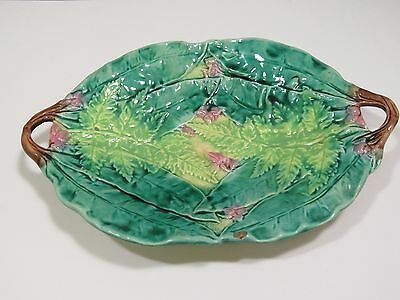Antique English Majolica Handled Platter Ferns & Chestnut Leaves Pink Flowers